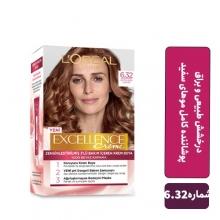 کیت رنگ مو لورآل قهوه ای روشن با تناژ طلایی سری EXCELLENCE شماره 6.32