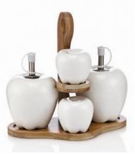 ست 5 پارچه نمکدان و روغندان طرح سیب نوبل لایف